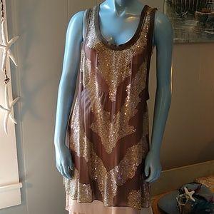 All Saints Sequined Sheer Mini Dress